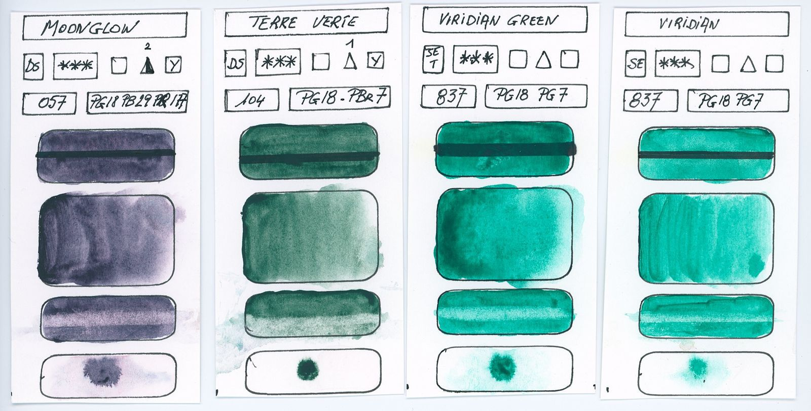 Swatches of Green watercolor paints from different manufacturer made with pigment P18