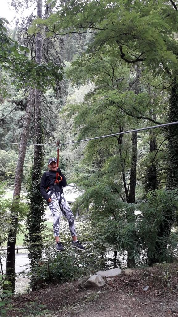 Tyroliennes, parcours vert, bleu, rouge et noir comme. pour le ski Bonne journée à sensations!