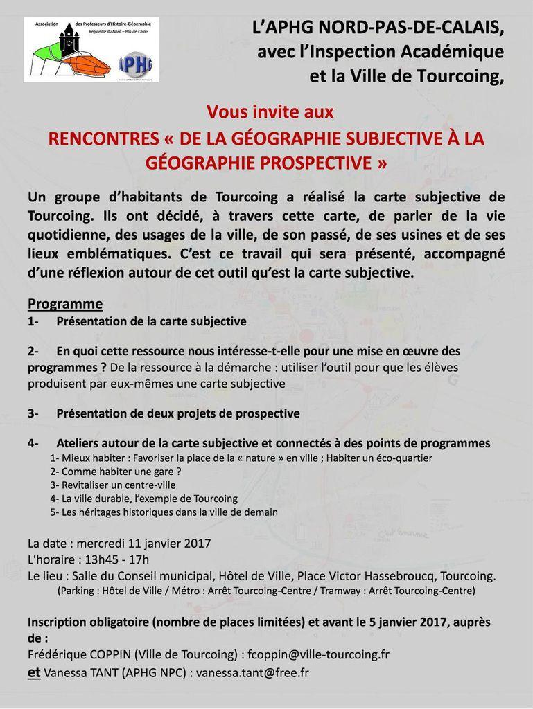 De la géographie subjective à la géographie prospective : une rencontre consacrée à la ville de Tourcoing