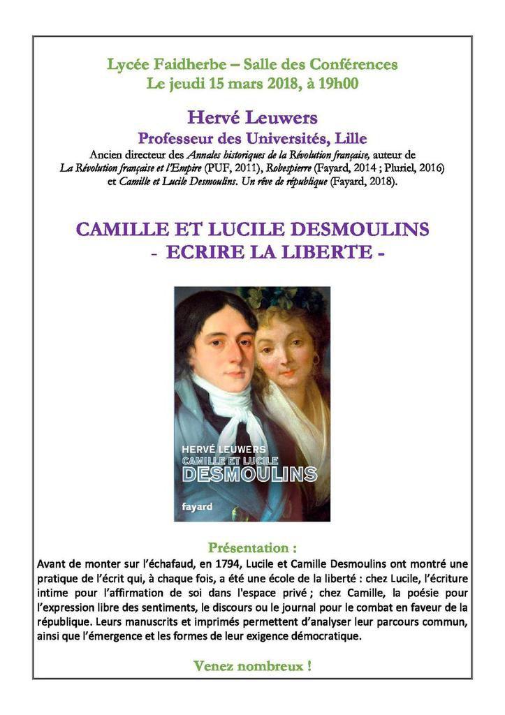 Une conférence d'Hervé Leuwers sur Camille et Lucile Desmoulins au lycée Faidherbe le 15 mars 2018