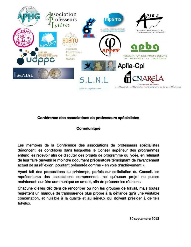 Communiqué de la Conférence des associations de professeurs spécialistes sur les projets de programme du lycée
