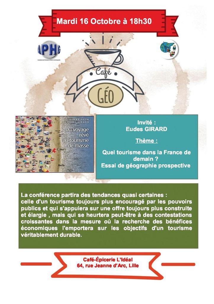 Un café-géo sur le tourisme dans la France de demain le 16 octobre au Café-Epicerie L'Idéal de Lille