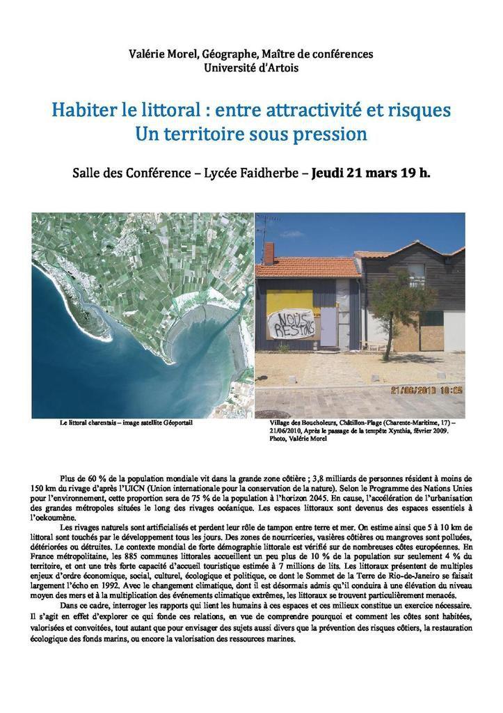 Une conférence de Valérie Morel sur les littoraux le 21 mars au lycée Faidherbe
