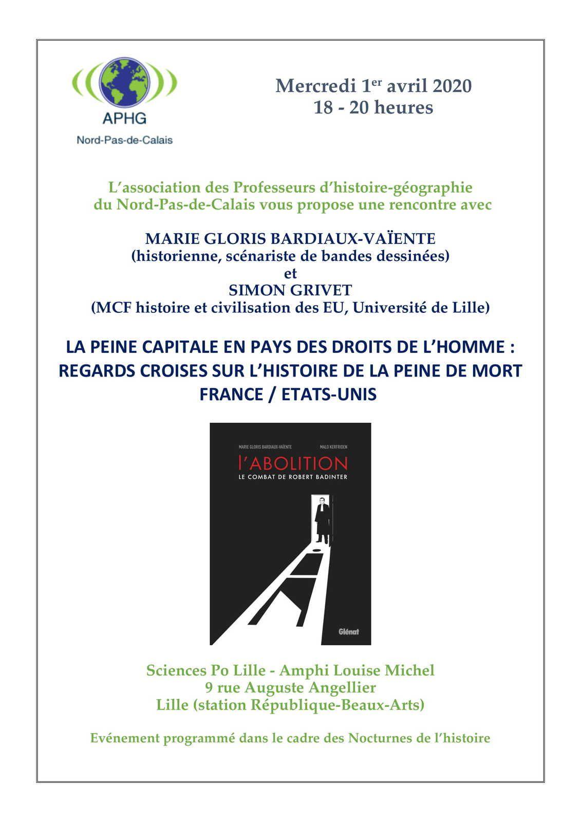 """Nocturnes de l'histoire : """"Regards croisés sur l'histoire de la peine de mort en France et aux Etats-Unis"""" le 1er avril à Sciences Po Lille"""