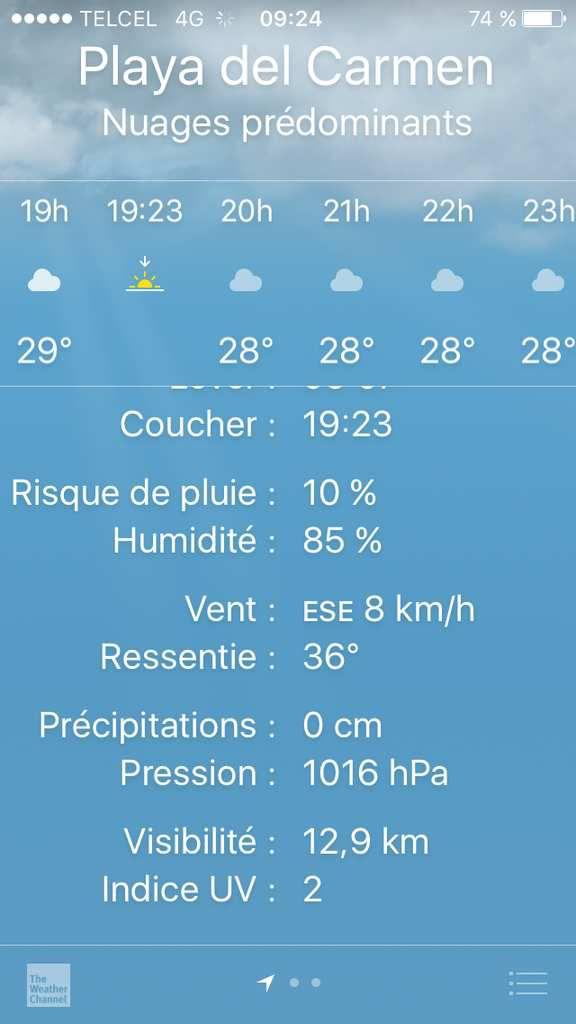 la voiture de location et la chaleur tropicale ressentie = 36 °, humidité autour de 85 %, horrible !