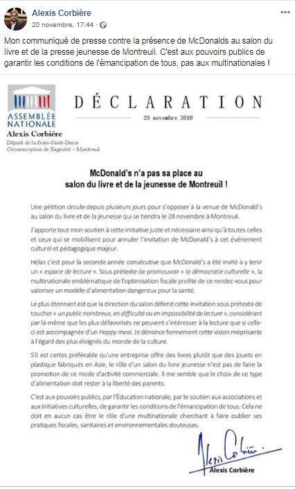 Après tout le clown Ronald Macdonalds aussi porte un gilet jaune. Et c'est l'ennemi d'Alexis Corbière qui lui oppose un communiqué!