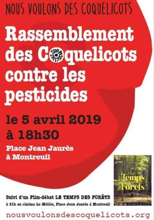 """Rendez vous vendredi 5 avril à 18h30 sur l'escalier de la Mairie. C'est le septième rendez vous mensuel des coquelicots, toujours actif, toujours clair sur les motifs, pour l'interdiction de tous les pesticides de synthèse. Demain soir aussi, diffusion du film """"Le temps des forêts"""" au Méliès à 21h"""