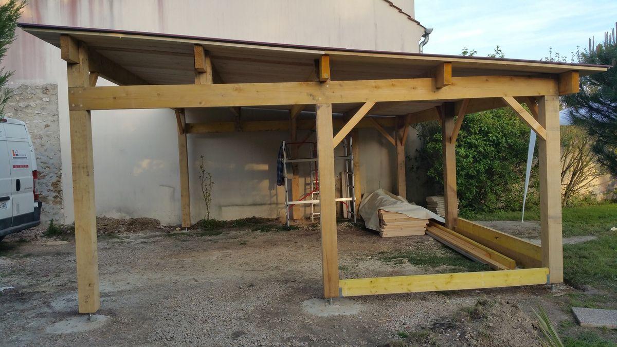 Abris bois, carport bois,  petit charpente