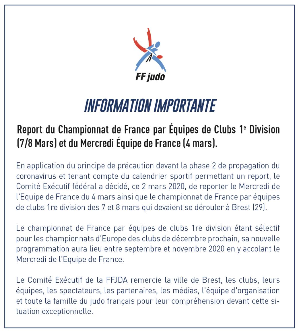 Championnat de France par équipes 1ère division et Mercredi de l'équipe de France reportés à la rentrée 2020