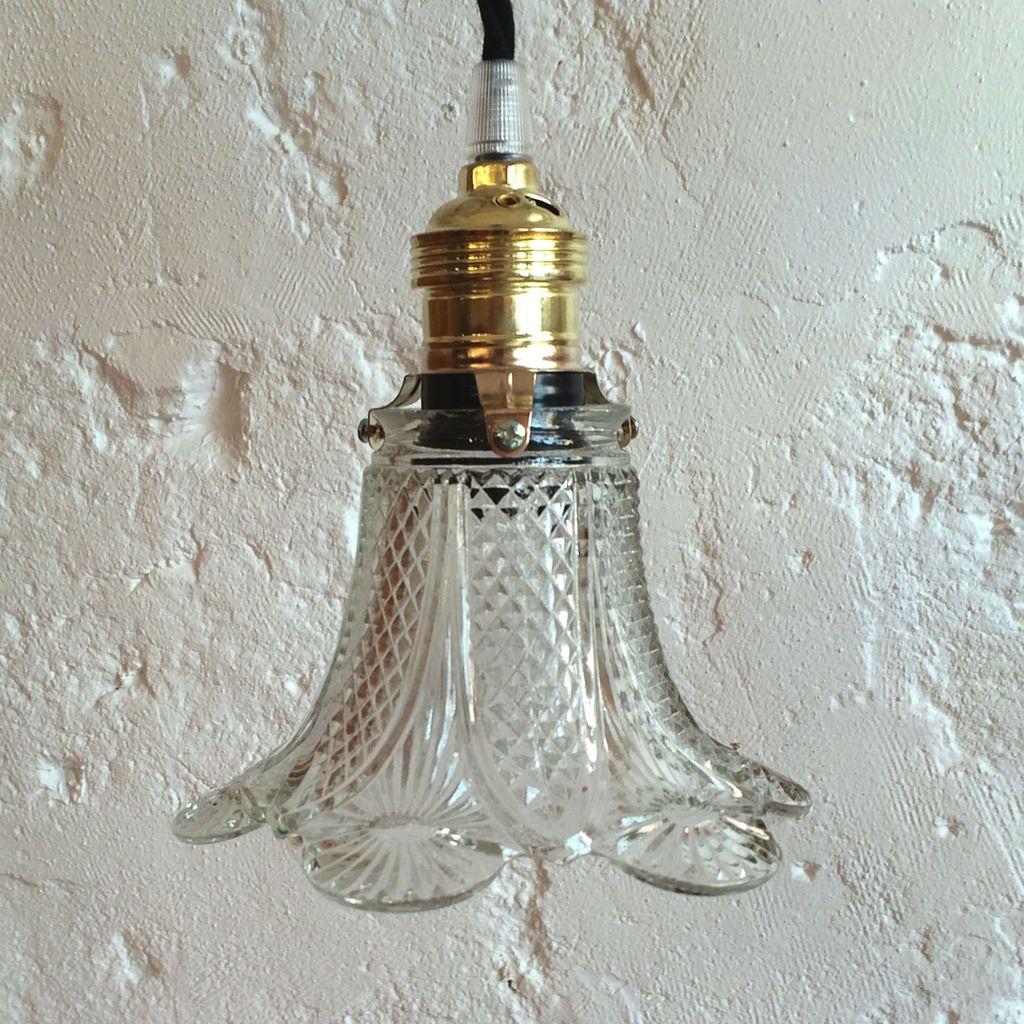 Petite lampe suspension luminaire abat jour ancien en - Douille pour lustre ancien ...