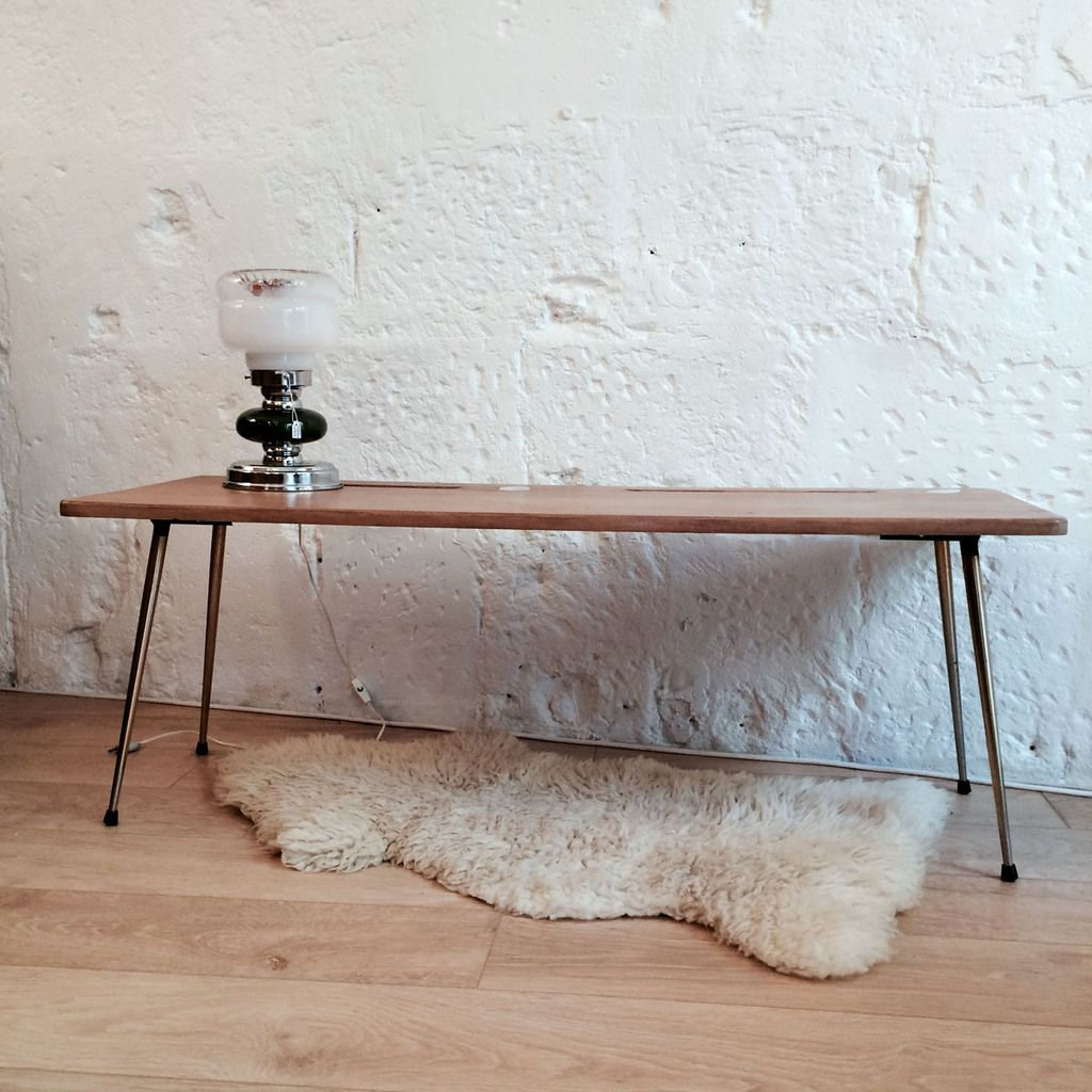 Table basse de salon ancien plateau d 39 cole pieds compas for Table basse 3 pieds