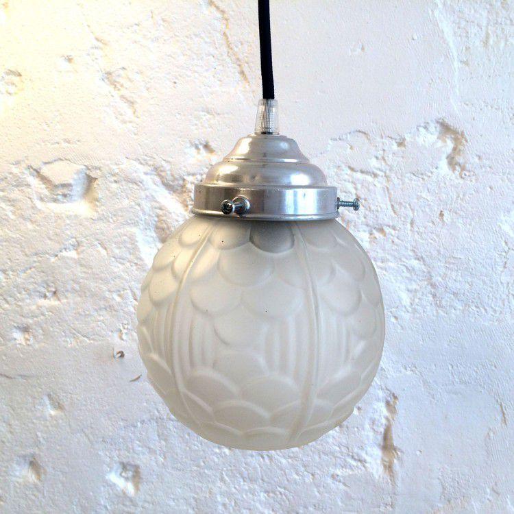 Lampe suspension luminaire abat jour globe en verre art for Globe luminaire