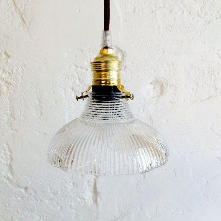 Petite suspension luminaire abat jour transparent en verre stri forme tulipe - Petite suspension luminaire ...