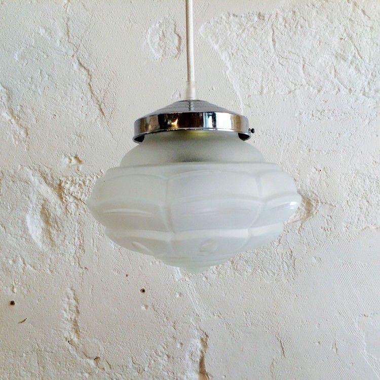 Lustre suspension ancien luminaire abat jour en verre for Luminaire en verre suspension