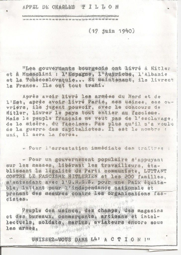 fac similé de l'appel du 17 juin 1940
