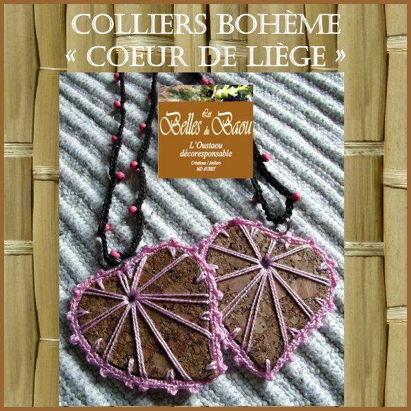 """Colliers bohèmes """"cœur de liège"""" ultra léger antiallergiques aux couleurs des chakras et de l'arc en ciel"""
