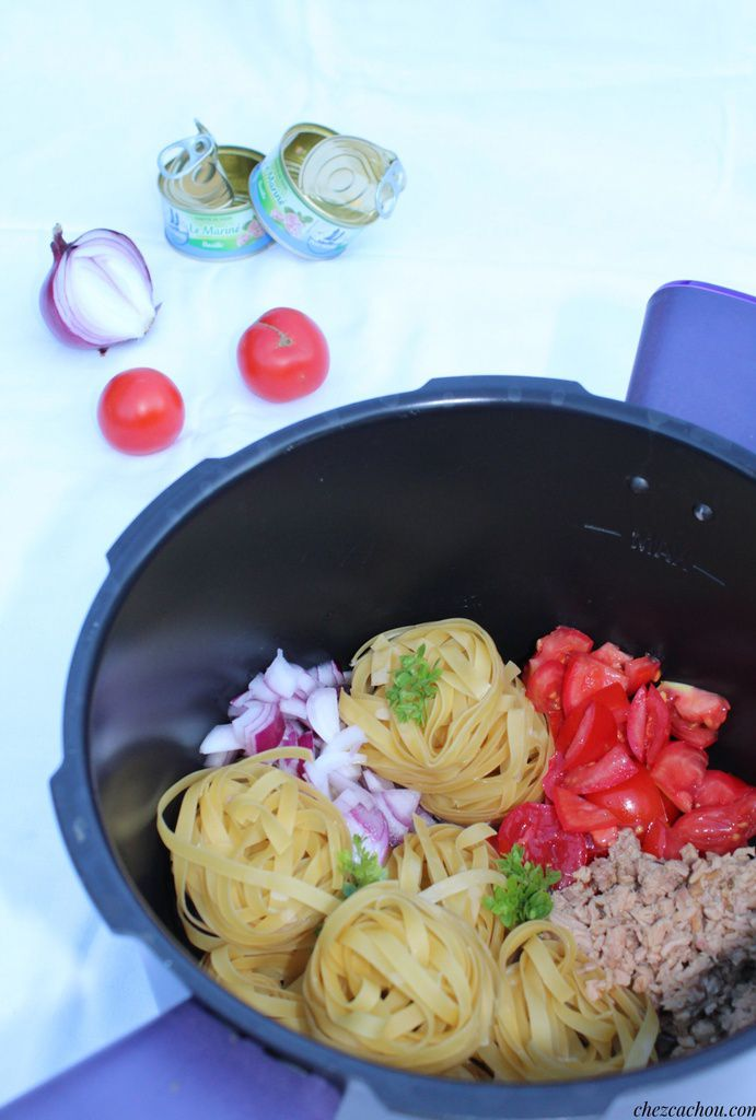 One pot pasta thon et tomates avec ou sans Cookeo. Recette Weight Watchers