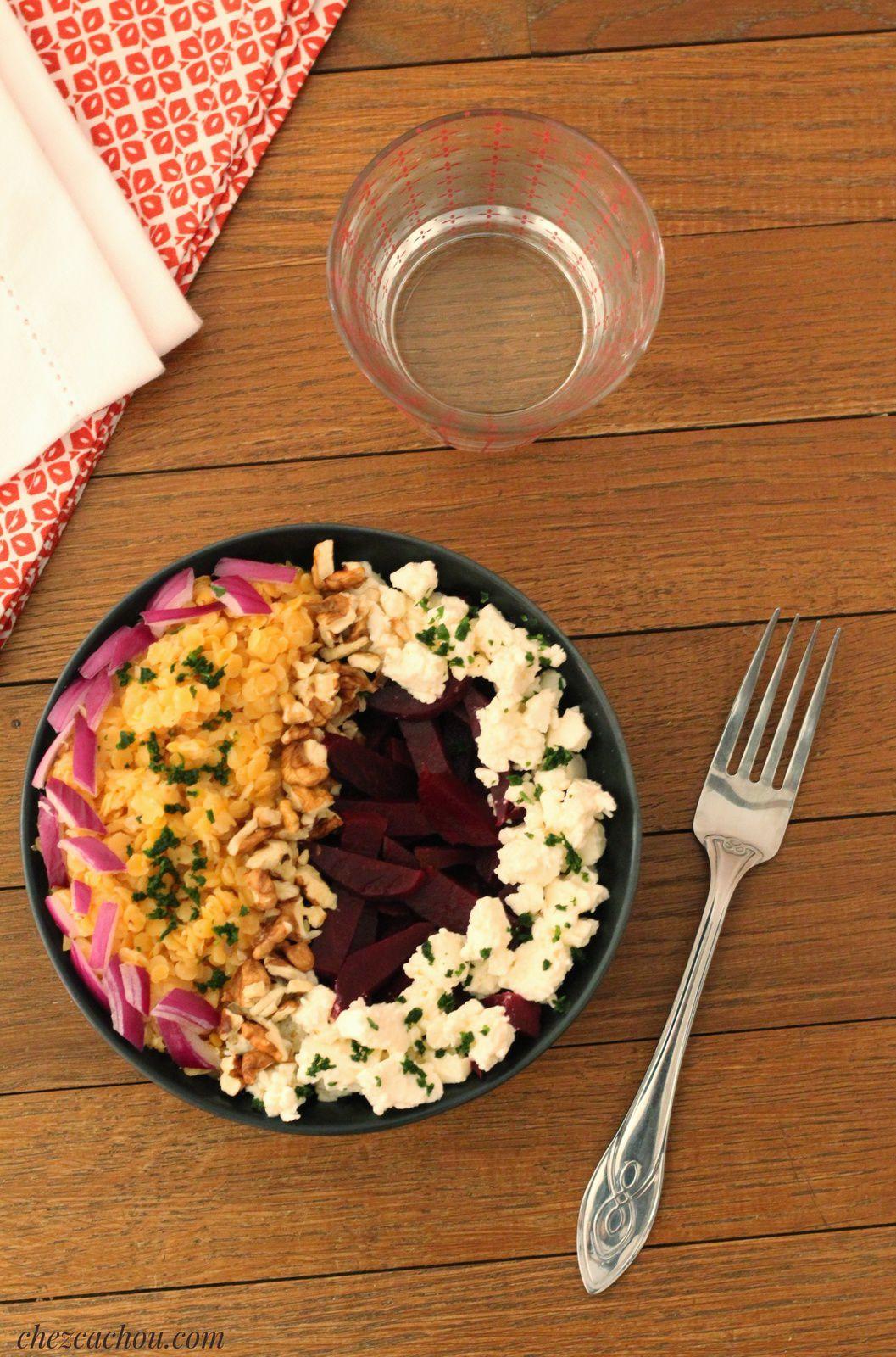 Salade de lentilles corail et betteraves