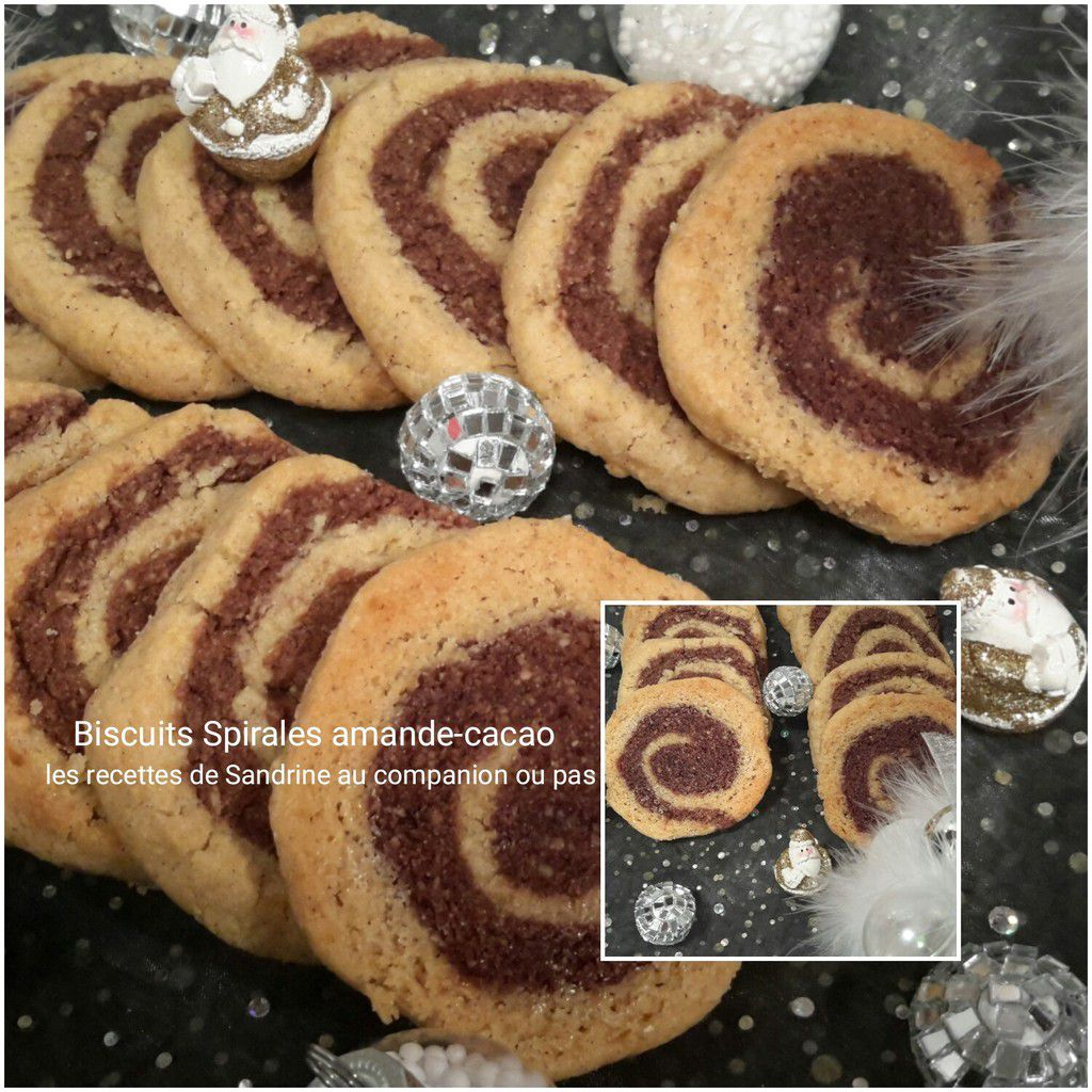 Biscuits spirales amande-cacao au companion, thermomix, i cook'in ou sans robot