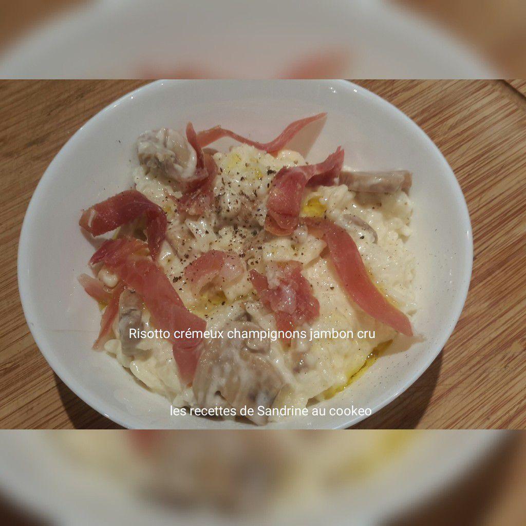 Risotto crémeux aux champignons et jambon cru au cookeo