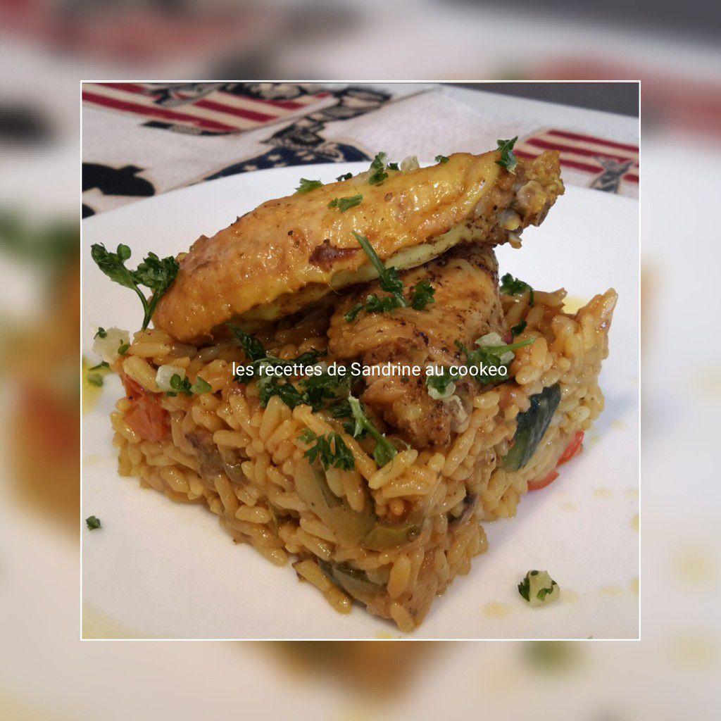 Ailes de poulet aux épices colombo et son riz et ses petits légumes au cookeo