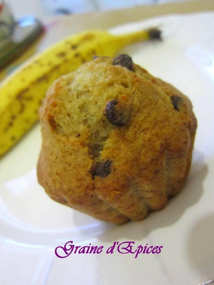 Muffins à la banane et aux pépites de chocolat sans PLV