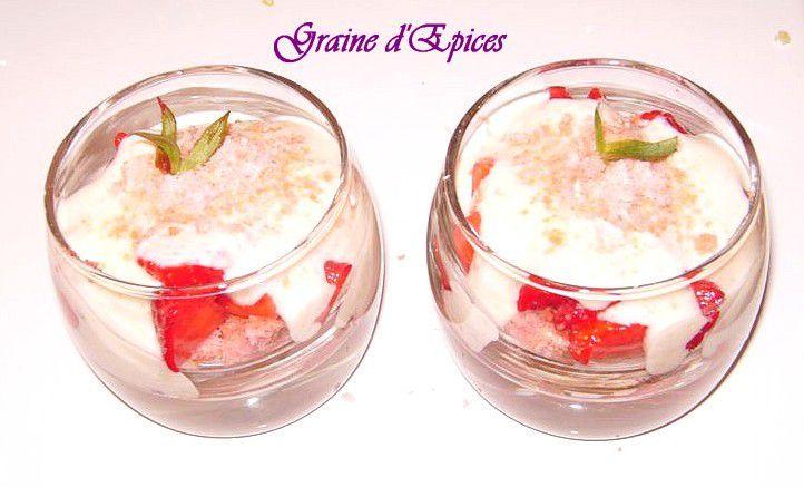 Verrines de Tiramisù Fraises & Biscuits roses de Reims