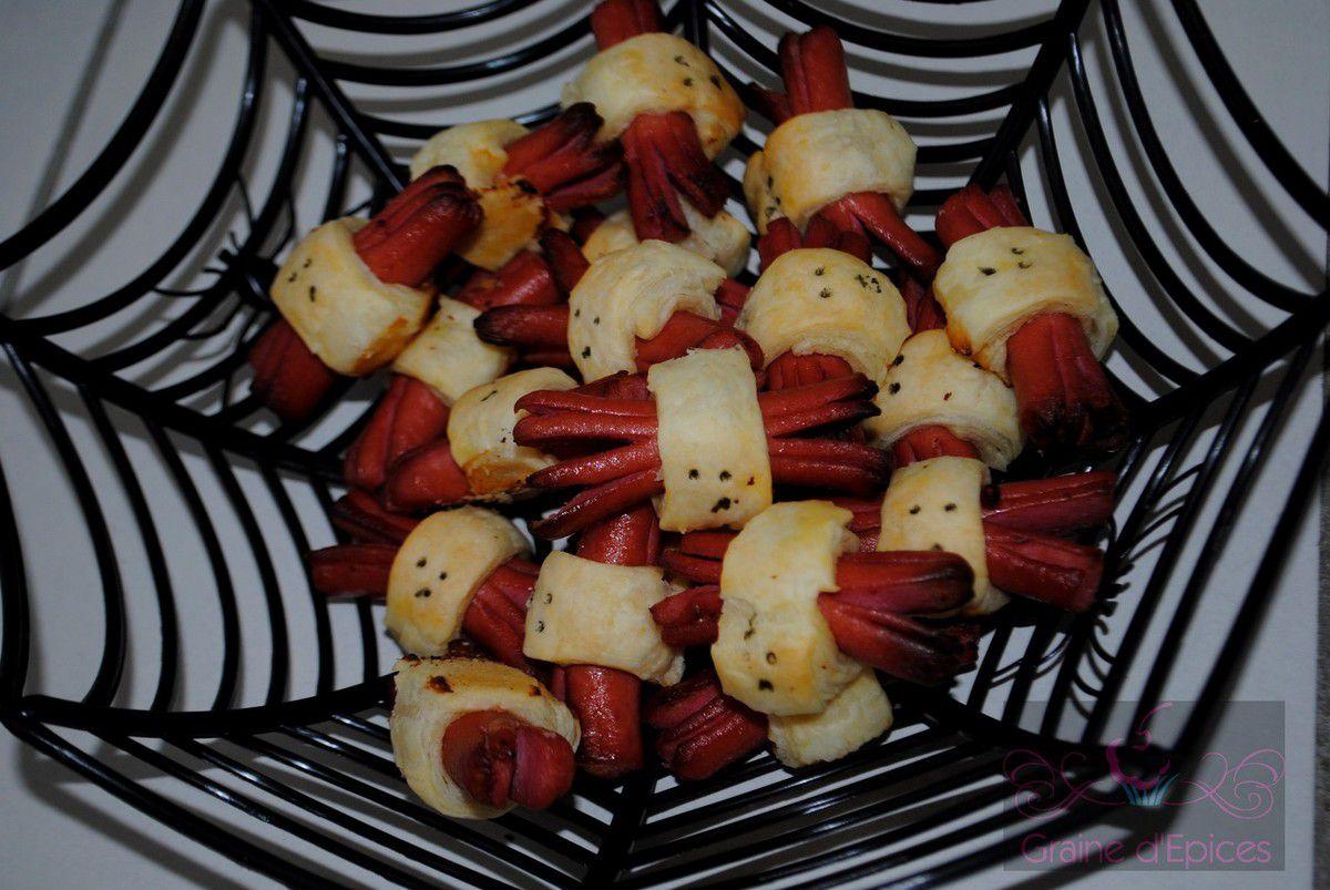 Halloween : Saucisses feuilletées Araignées