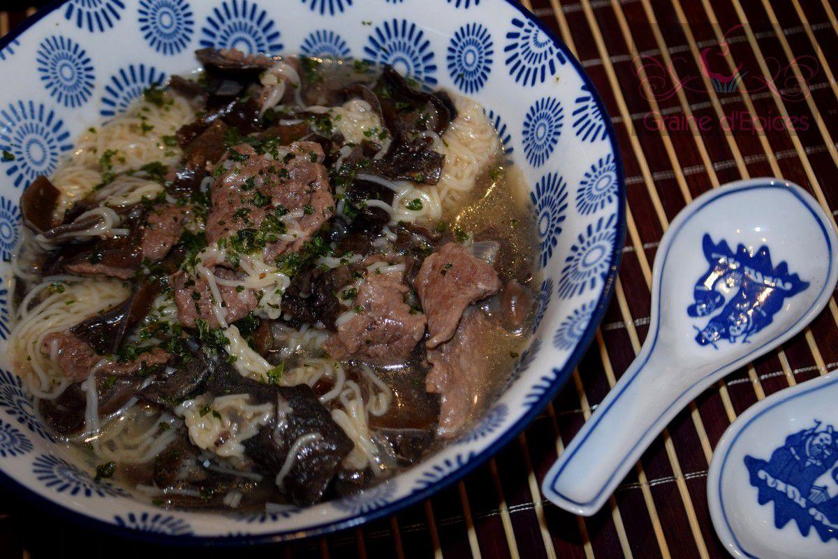 Potage Chinois au Boeuf & aux Champignons noirs