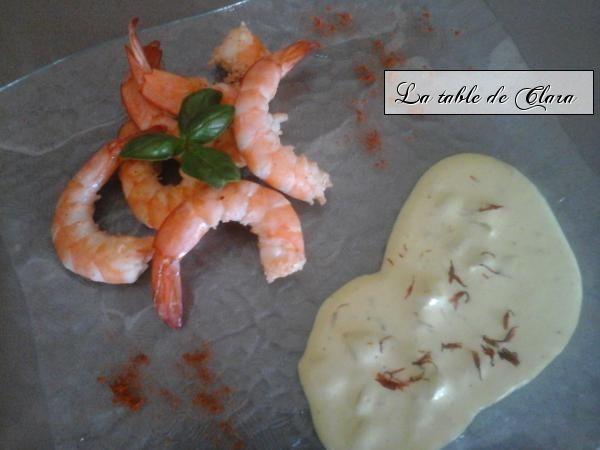 Crevettes à l'ail sauce au safran
