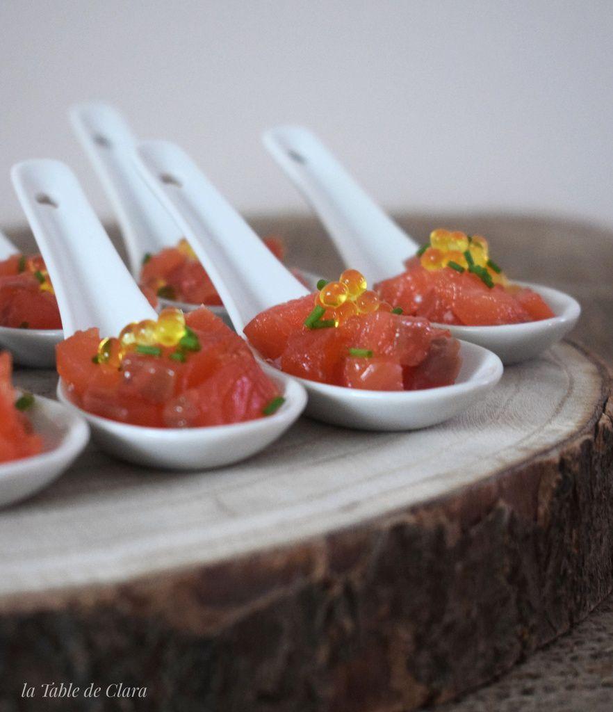 Cuillère saumon Gravlax perles de citron