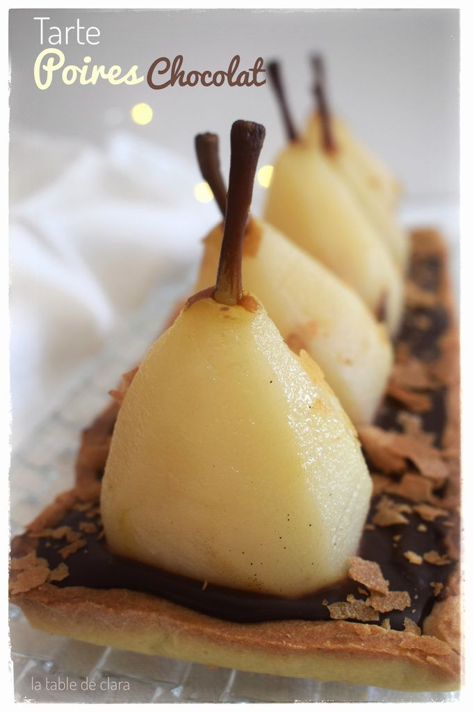 Tarte aux poires entières, chocolat et praliné