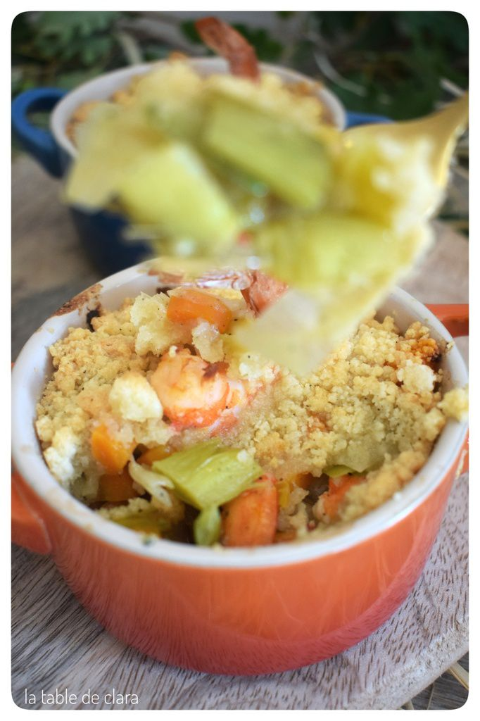 Crumble de crevettes aux légumes
