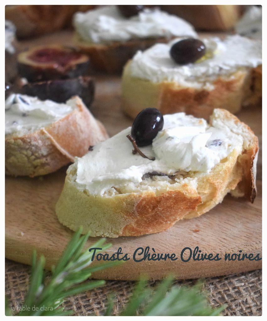 Toasts chèvre olives noires