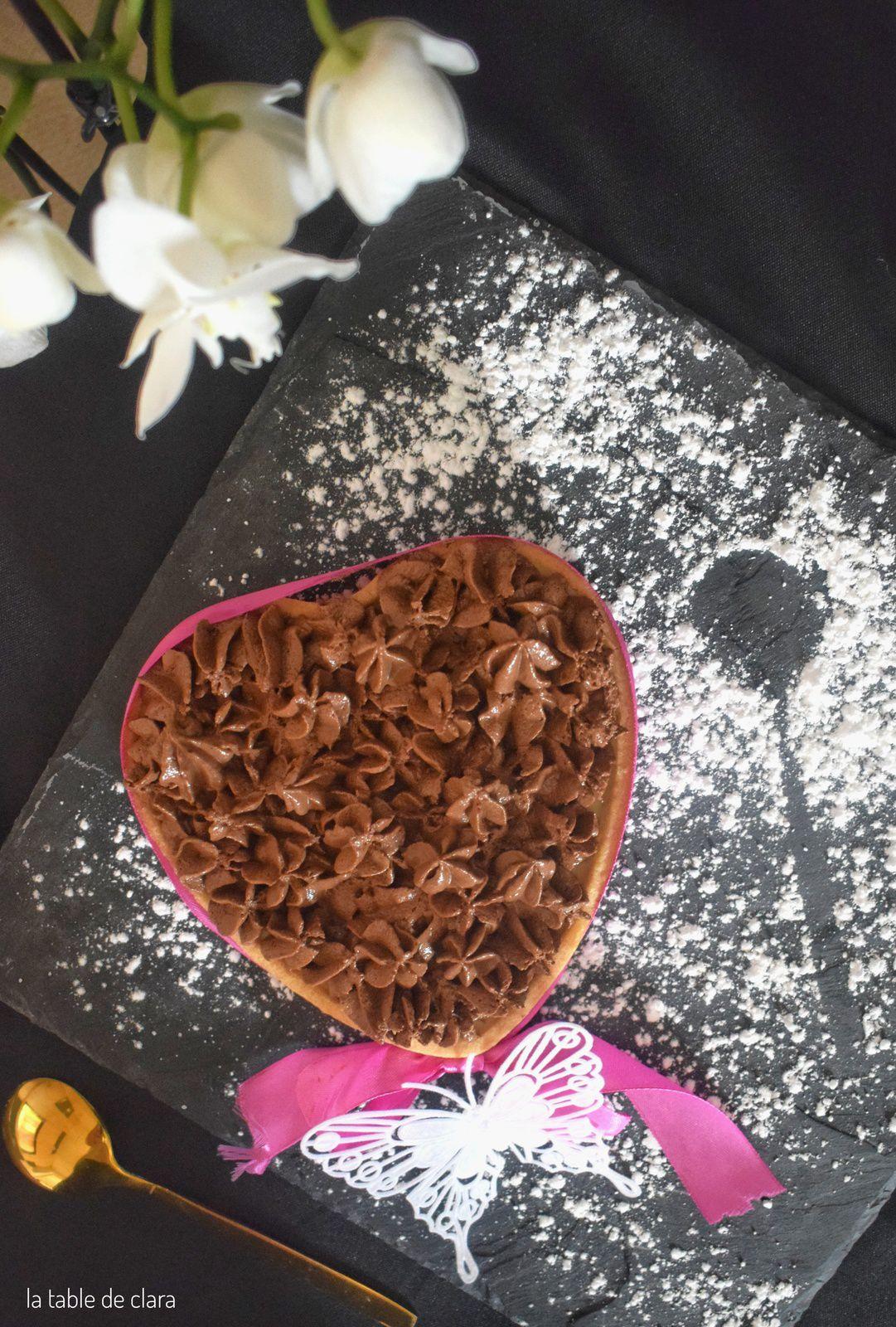 Coeur panna cotta mangue et mousse au chocolat