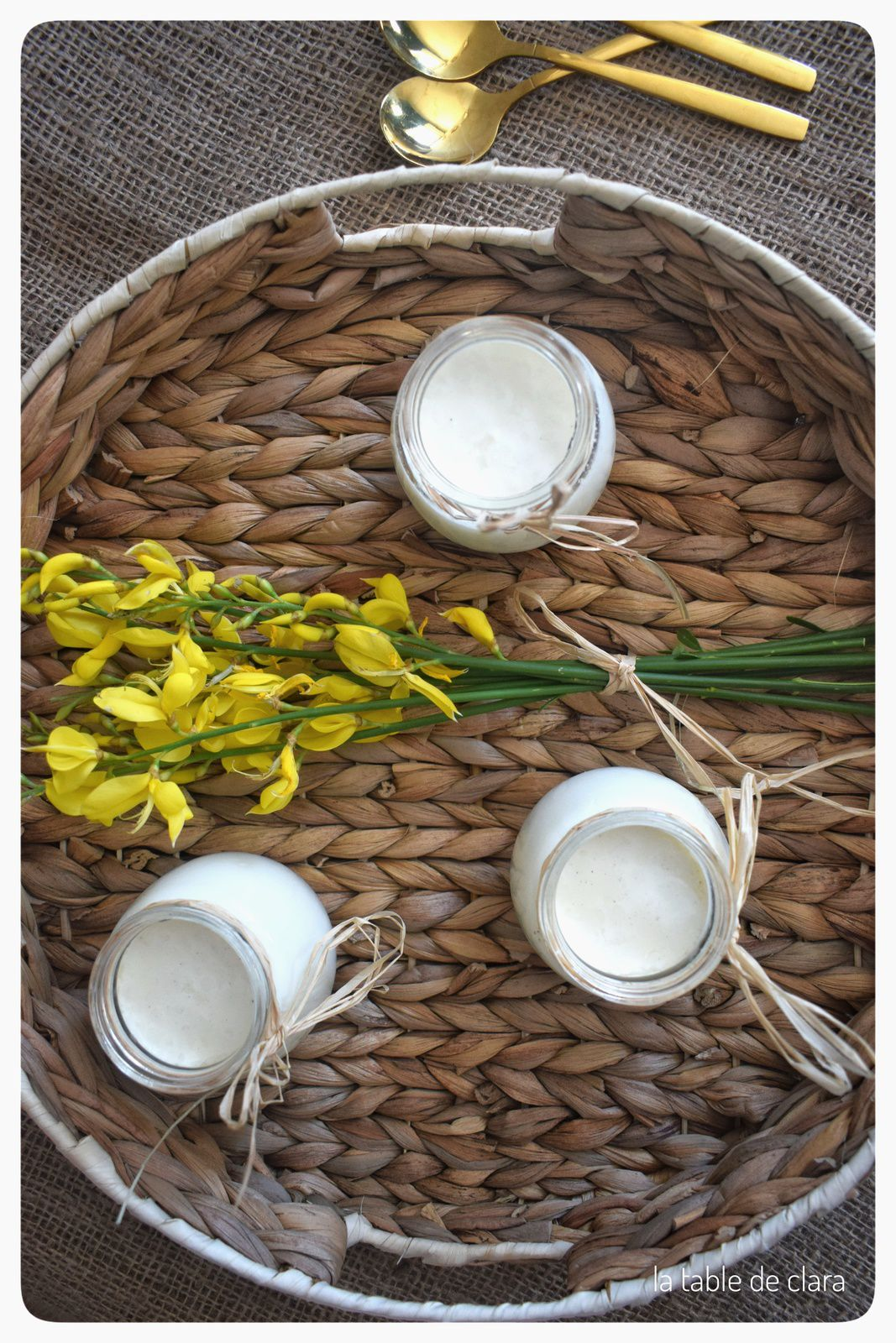 Yaourt maison vanille sur confiture de pastèques
