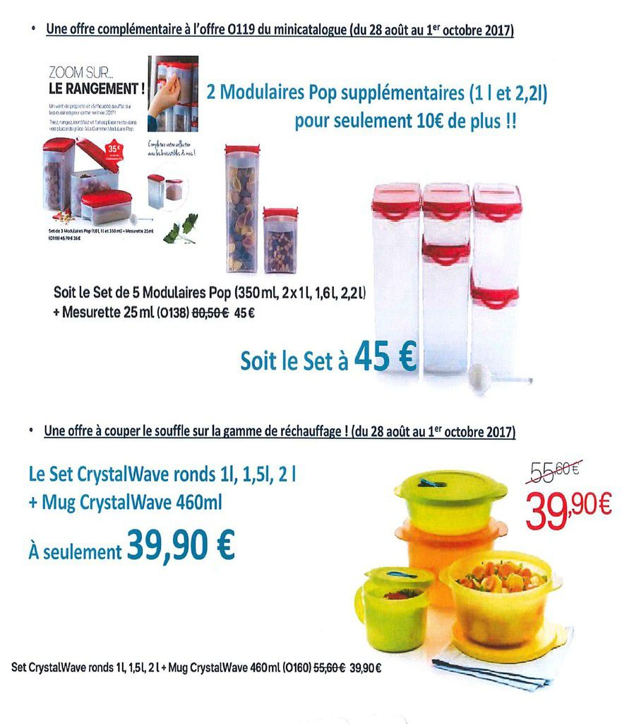 Plus de promo Tupperware en Septembre
