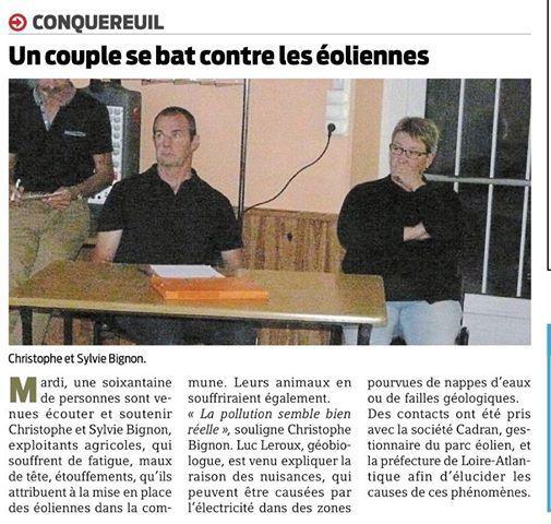 Presse Ocean du 20/09/18 Agriculteurs et éoliennes !!