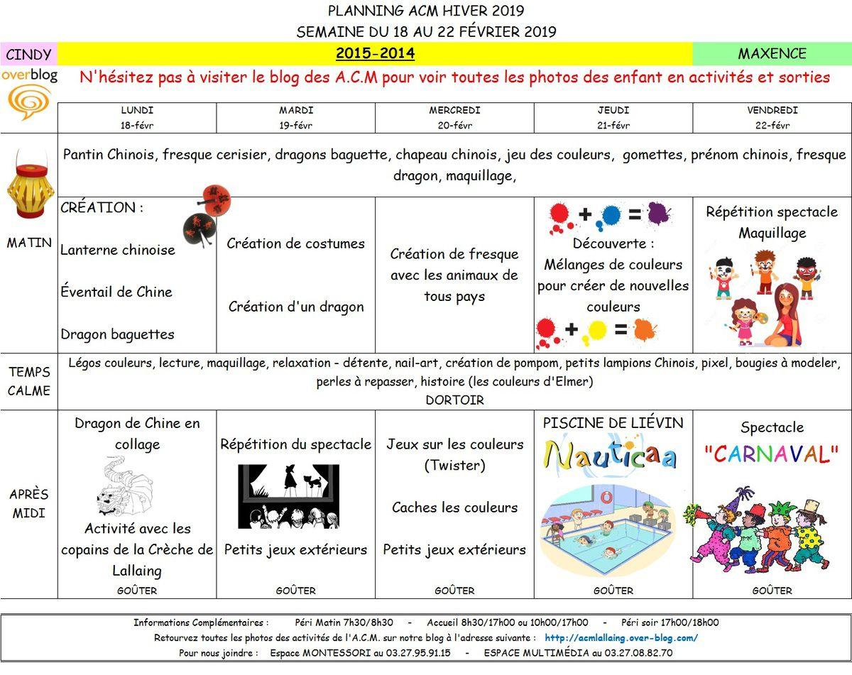 Plannings des activités par groupe
