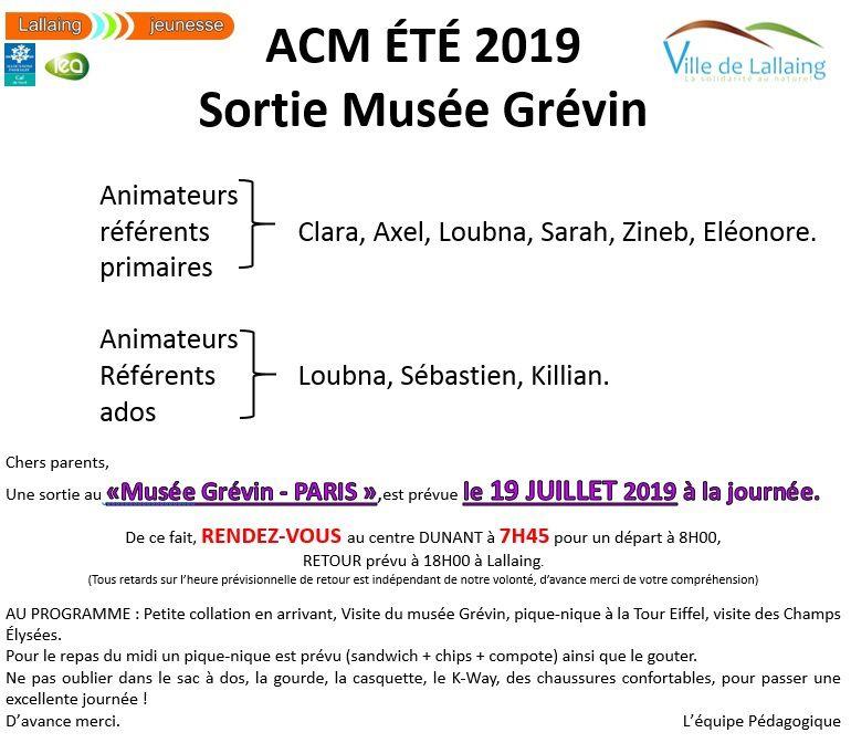 MUSÉE GRÉVIN - Pour les enfants primaires et ados des animateurs référents notés