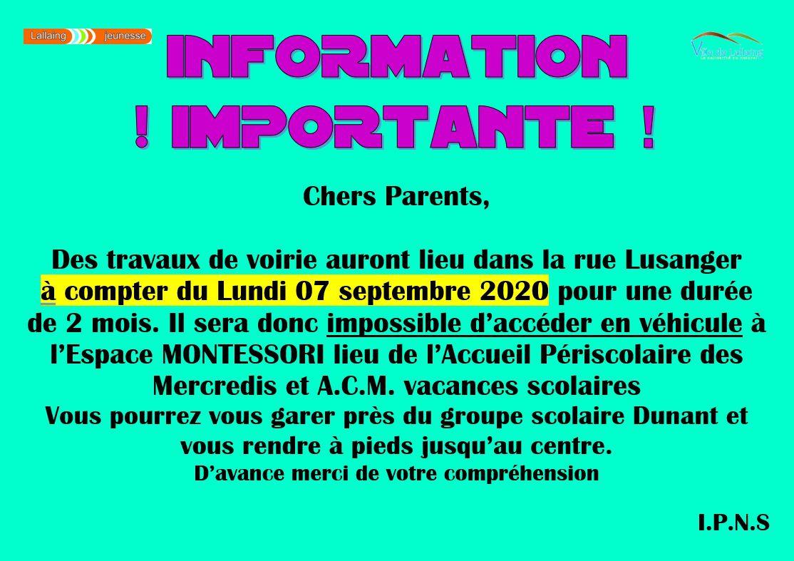 Information importante !