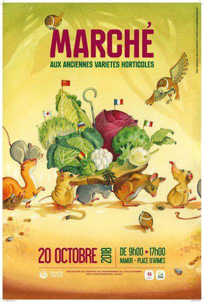 MArché desn anciennes variétés horticoles de Namur, affiche