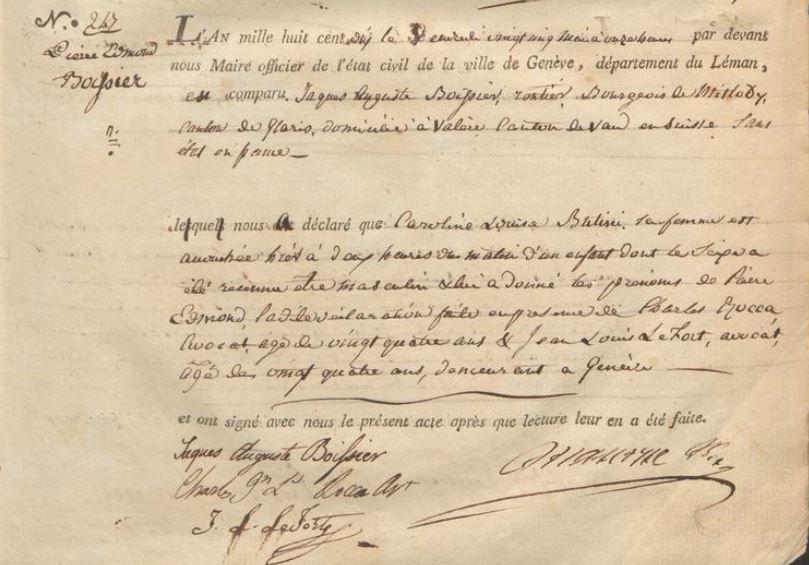 Acte de naissance d'Edmond Pierre Boissier à Genève le 25 mai 1810. E.C. Genève naissances 13, Image page 88