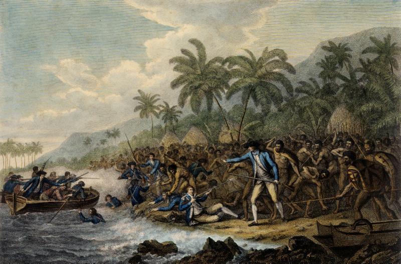 La mort du Captain Cook par John Webber [Public domain]