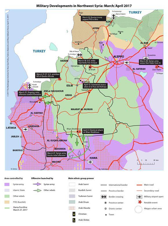 Situation militaire au nord-est de la Syrie, mars-avril 2017. En vert les zones sous contrôle rebelle ; en violet celle sous le contrôle gouvernemental. Source : Washington Institute