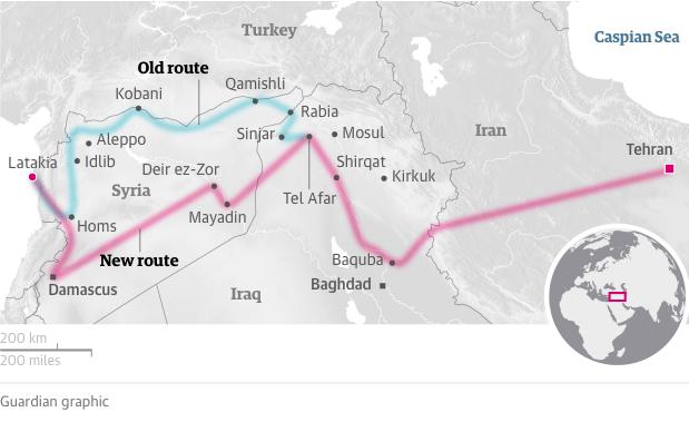 La nouvelle route iranienne (en rose) passant par le Sud de la Syrie