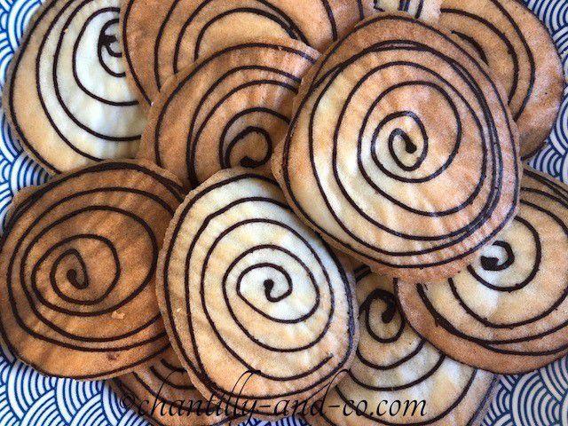 Tuiles spirales au chocolat ou amandes