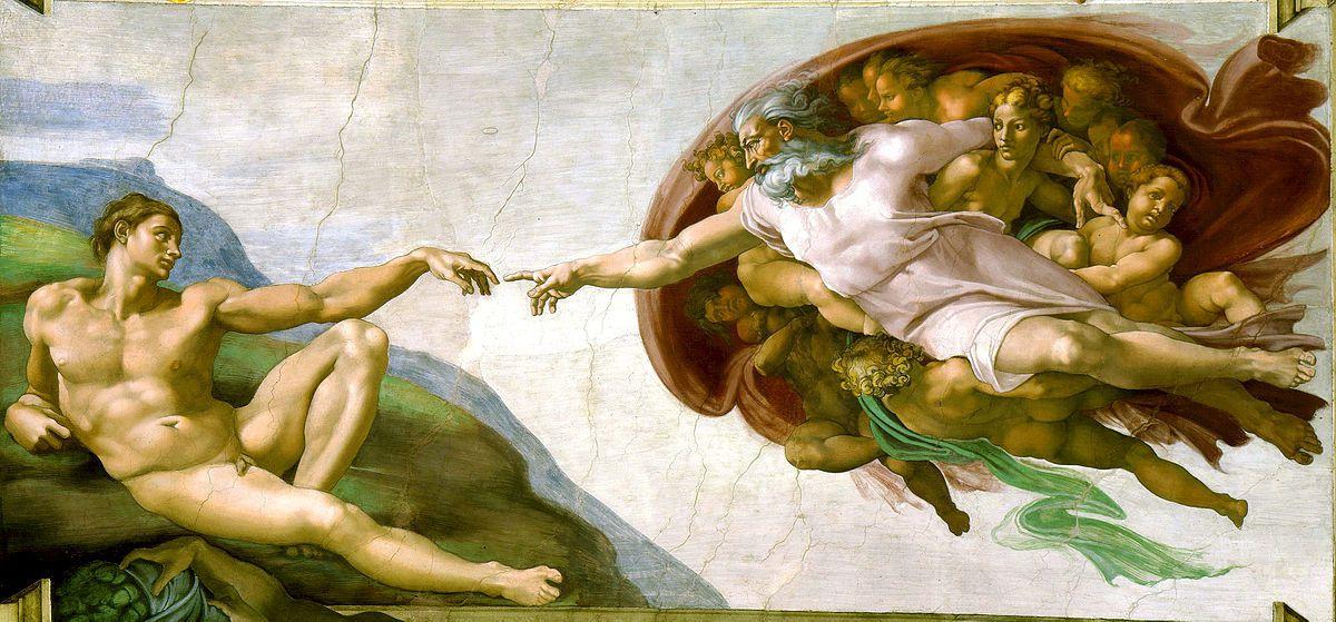 Michel Ange. La création d'Adam. 1508-1512. Fresque de la Chapelle Sixtine. Vatican. Rome.
