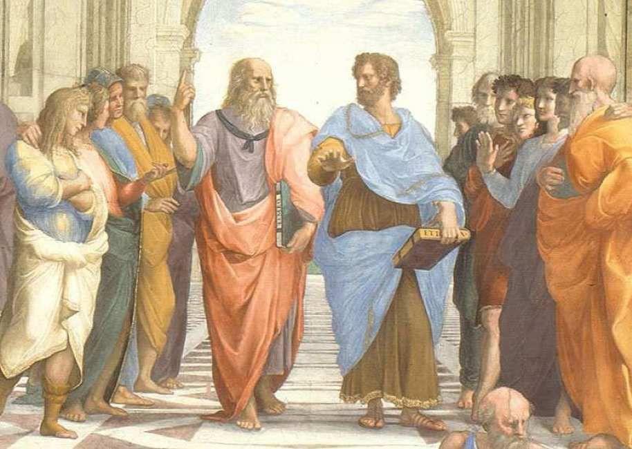 L'école d'Athènes. Fresque de Raphaël (1483-1520) peinte en 1509-1510. Chapelle Sixtine. Palais du Vatican.