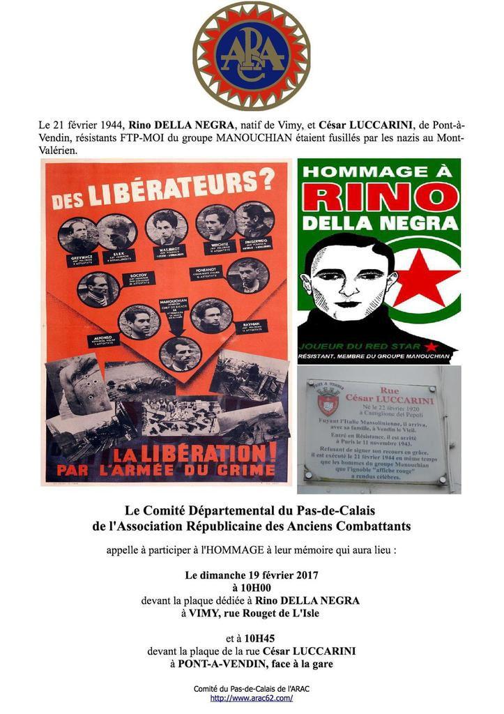 Hommage aux résistants du groupe Manouchian du Pas-de-Calais